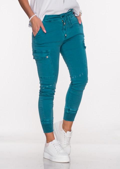 Włoskie jeansy Silver Buttons turkusowe/65