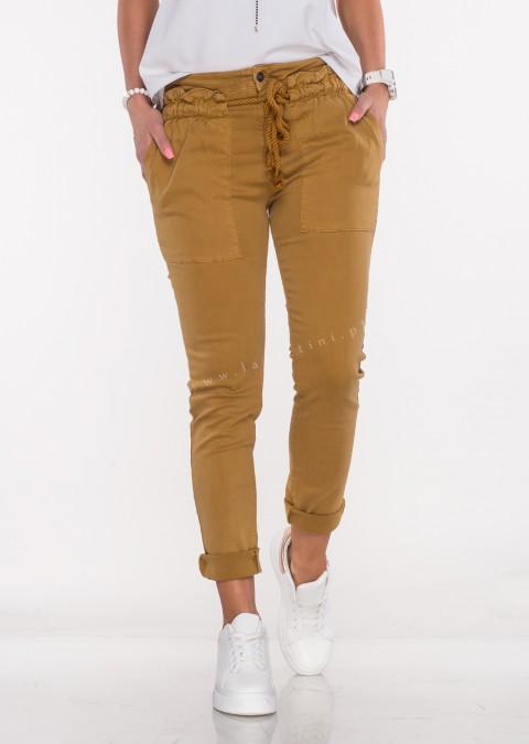 Włoskie jeansy BELLO OZDOBNY SZNUREK musztardowe