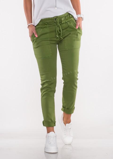 Włoskie jeansy BELLO OZDOBNY SZNUREK zielony