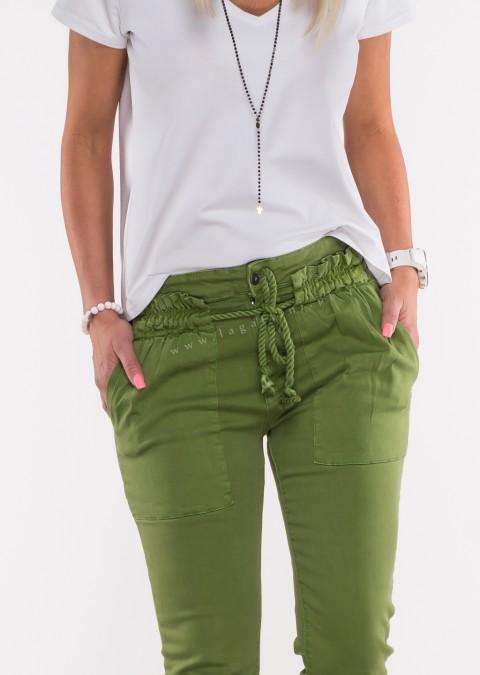 Włoskie jeansy BELLO OZDOBNY SZNUREK brązowe