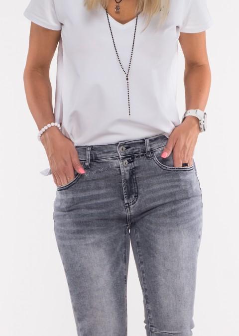 Włoskie jeansy FRASCATI 2 guziki szare