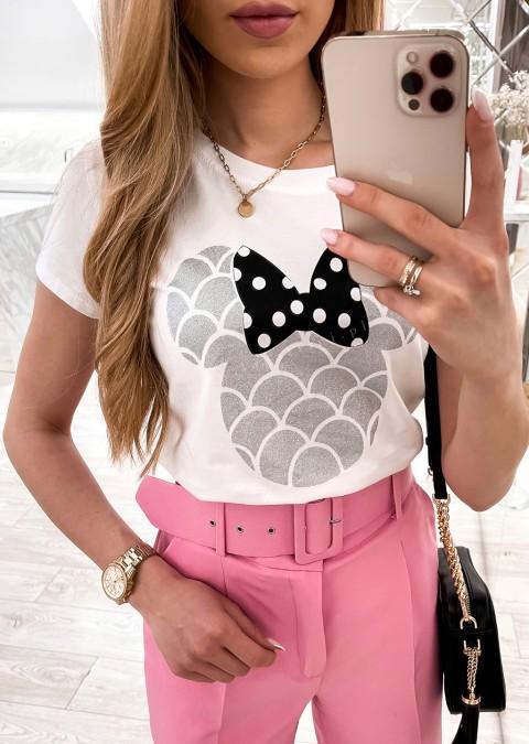 Włoski t-shirt Mouse biała nadruk srebrno-czarny