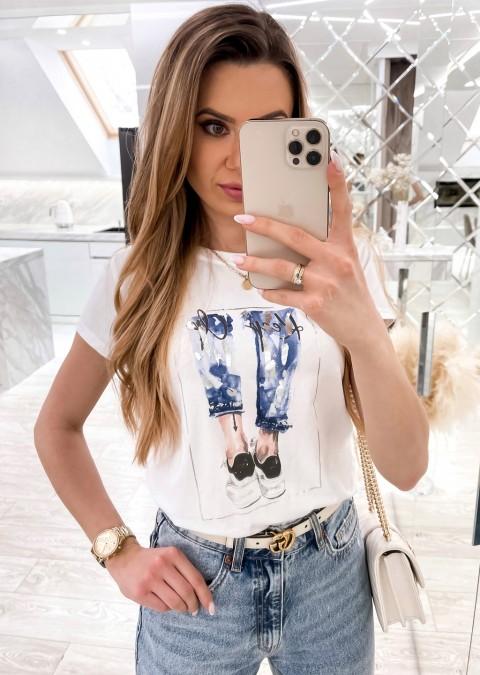 Włoski t-shirt ALEX z niebiesko-czarnym nadrukiem