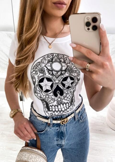 Włoski t-shirt CZASZKA biały