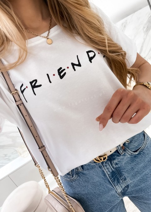 Włoski tshirt FRIENDS oversize biały
