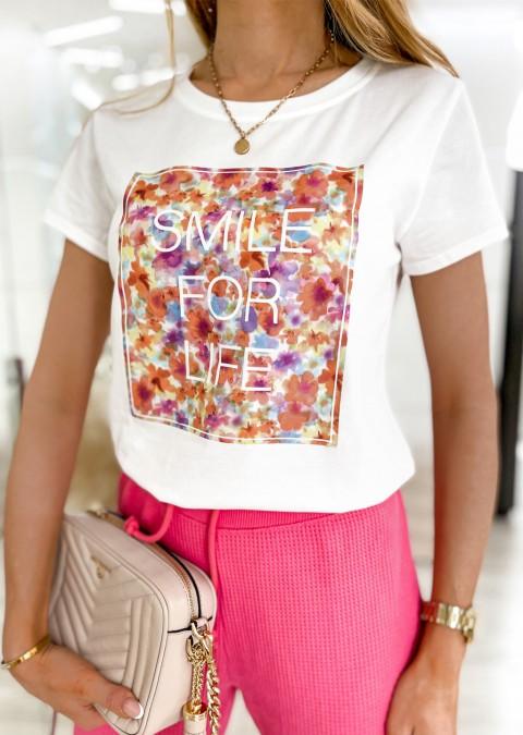 Włoski t-shirt SMILE FOR LIFE colorful