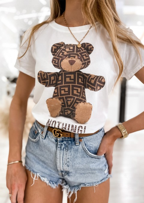Włoski t-shirt BEAR NOTHING biały
