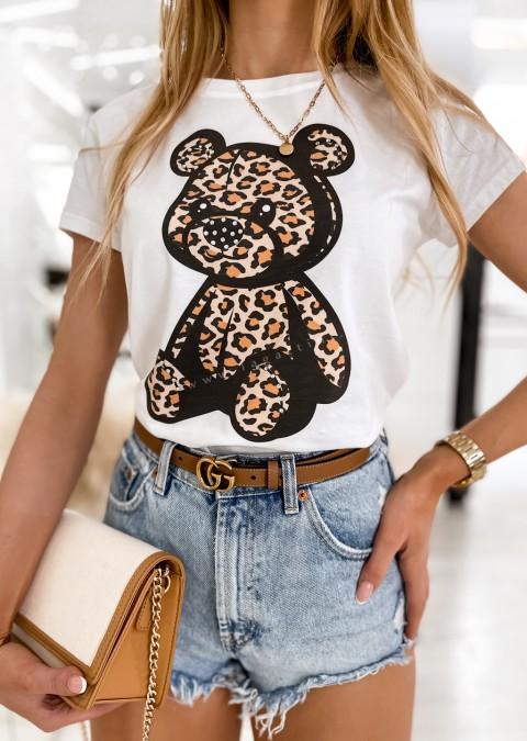 Włoski t-shirt BEAR PANTHER biały