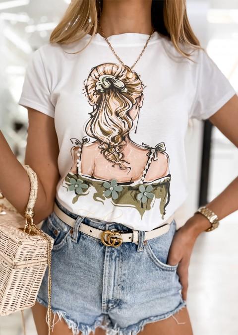 Włoski t-shirt MADAME zdobienia