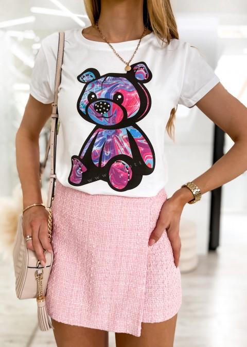 Włoski t-shirt BEAR COLORFUL biały