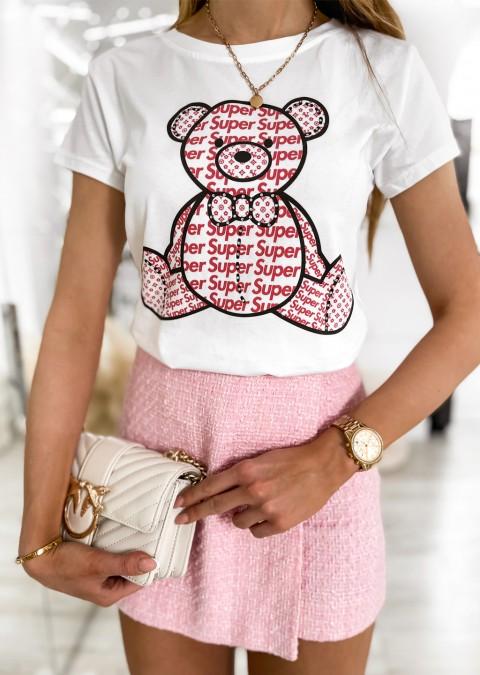 Włoski t-shirt SUPER BEAR biały