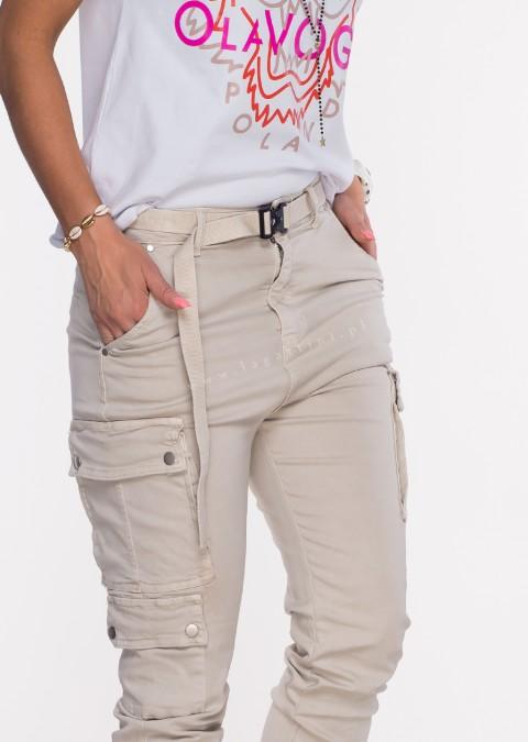 Włoskie jeansy Silver Buttons + pasek jasny beżowy