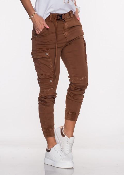 Włoskie jeansy Silver Buttons + pasek brązowy