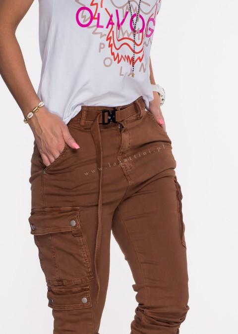 Włoskie jeansy Silver Buttons + pasek jasny szary