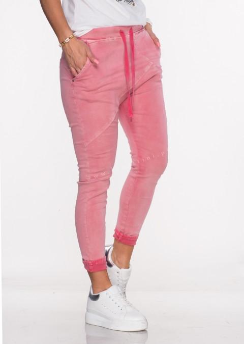 Włoskie spodnie jeanowe MILANO 2 malinowe /P4