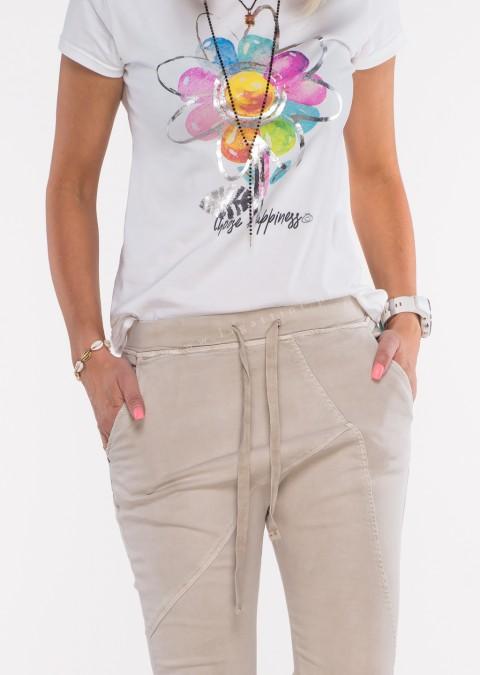 Włoskie spodnie jeanowe MILANO 2 beżowy /P9