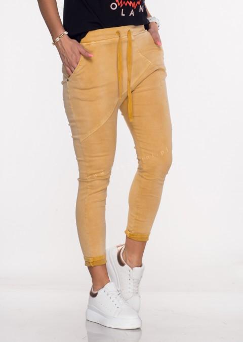 Włoskie spodnie jeanowe MILANO 2 musztardowy