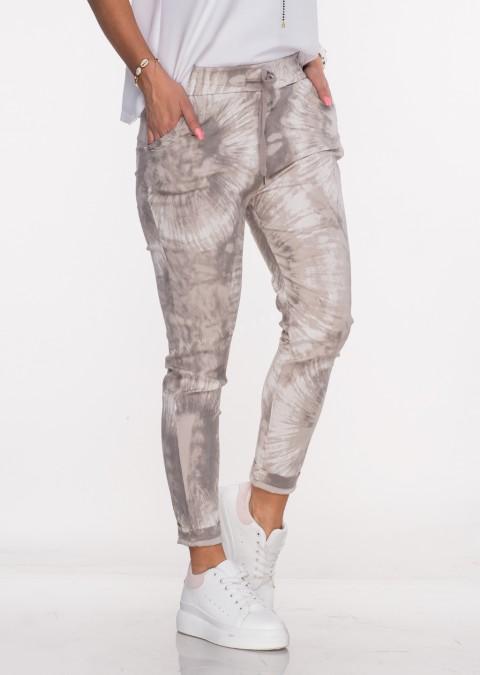 Włoskie dekatyzowane spodnie BRAVE beżowe