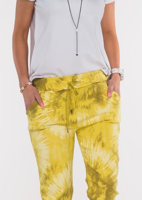 Włoskie dekatyzowane spodnie BRAVE żółte