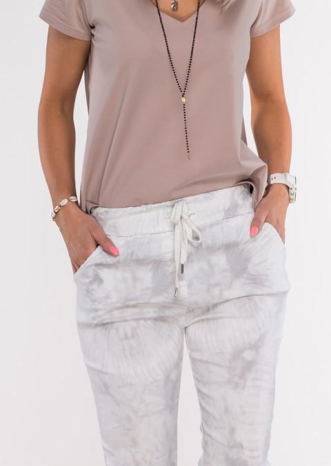 Włoskie dekatyzowane spodnie BRAVE białe