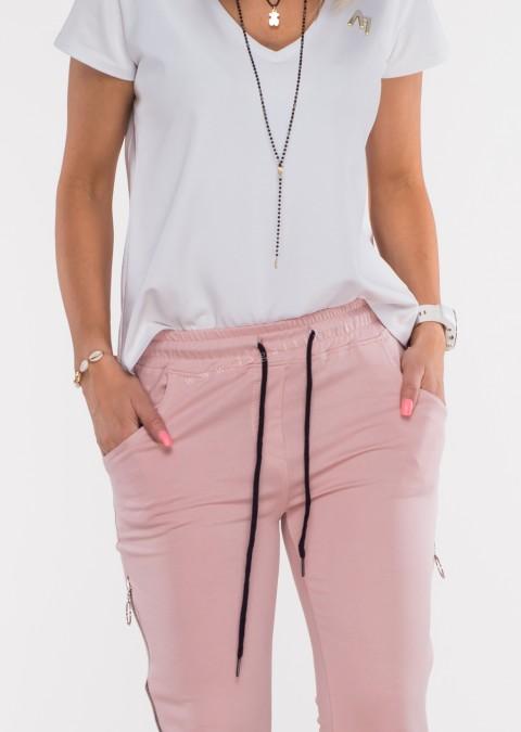 Włoskie spodnie dresowe joggery VERESCO ZIP różowe