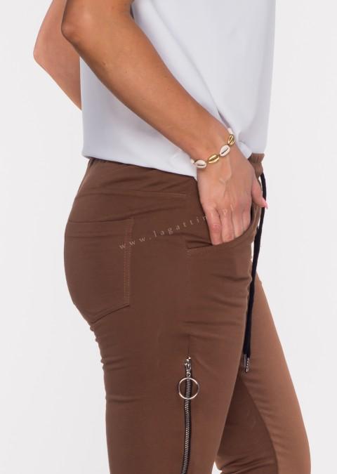 Włoskie spodnie dresowe joggery VERESCO ZIP brązowy