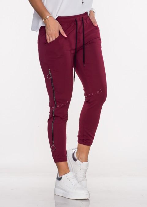 Włoskie spodnie dresowe joggery VERESCO ZIP burgundowy