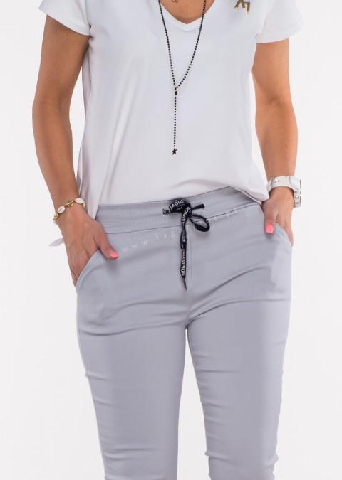 Włoskie spodnie CLASSIC logowany sznurek ecru