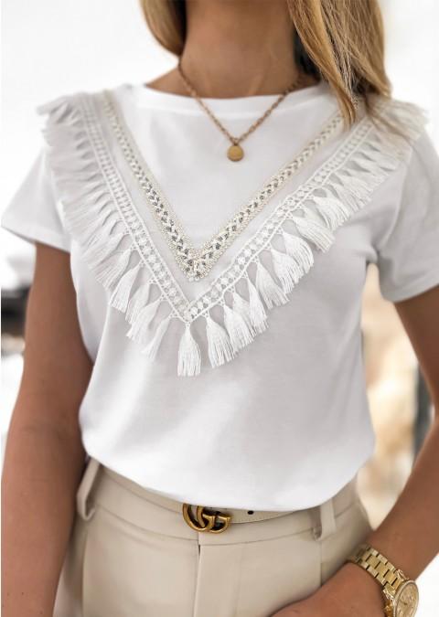 Włoska bluzka GALLIA zdobienia biała