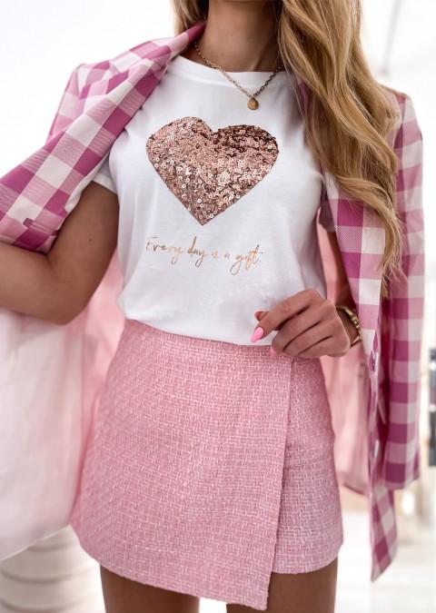 Włoski t-shirt EVERY DAY IS A GIFT z różowo-złotym sercem 2