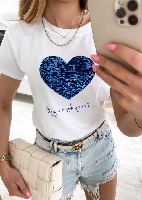 Włoski t-shirt EVERY DAY IS A GIFT z niebieskim sercem 2