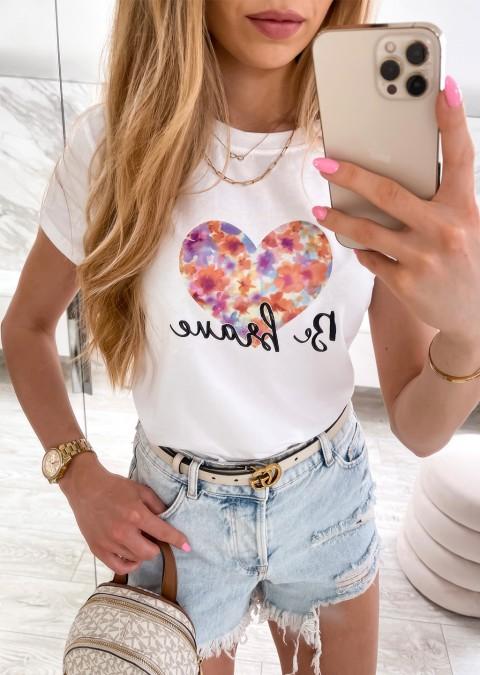 Włoski t-shirt BE BREAVE z kolorową aplikacją