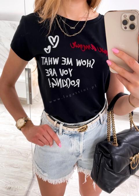 Włoski t-shirt SHOW ME czarny