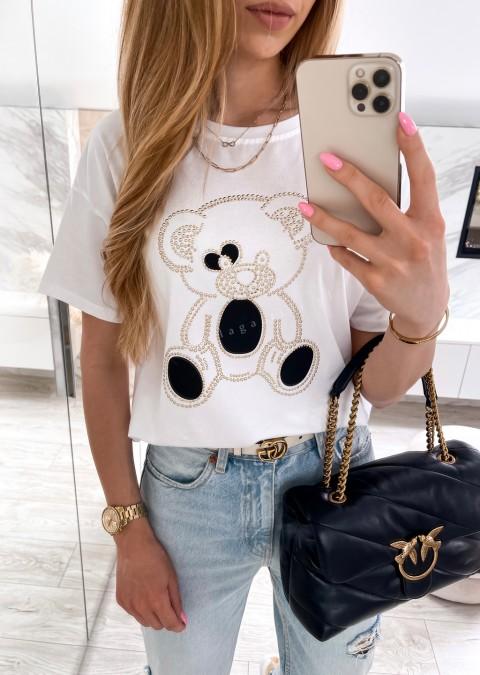 Włoski t-shirt NICE BEAR biały