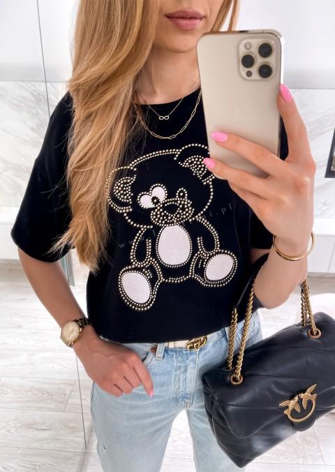 Włoski t-shirt NICE BEAR czarny