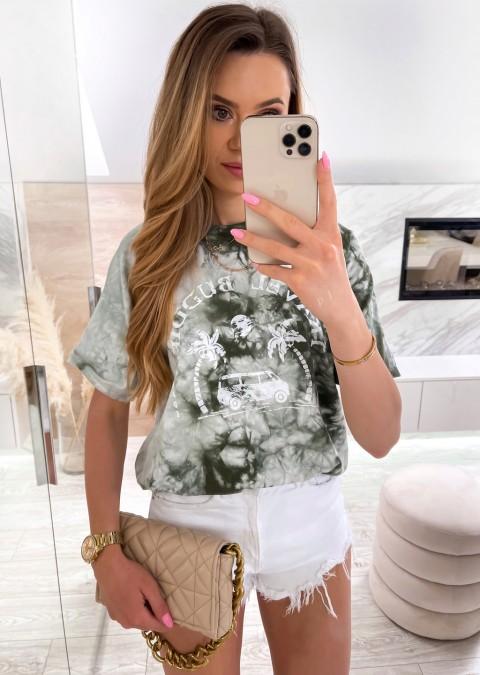 Włoski t-shirt TRAVEL BUDDIES khaki