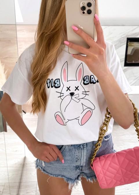 Włoski t-shirt RABBIT biały