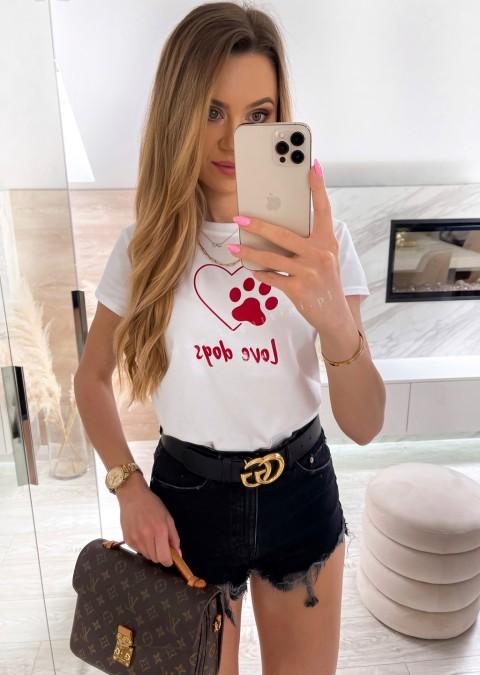 Włoski t-shirt LOVE DOG biały
