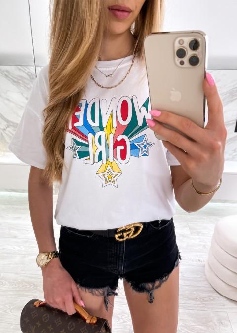 Włoski t-shirt WONDER GIRL biały