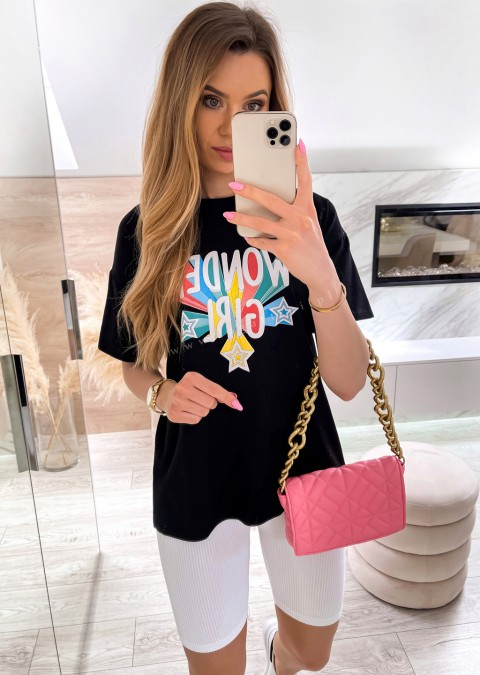 Włoski t-shirt WONDER GIRL czarny