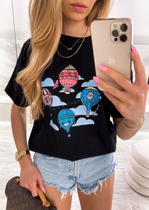 Włoski t-shirt BALLOONS czarny