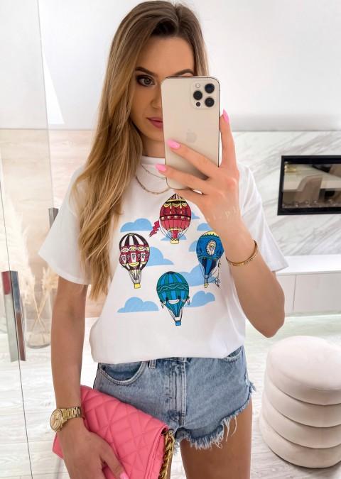 Włoski t-shirt BALLOONS biały