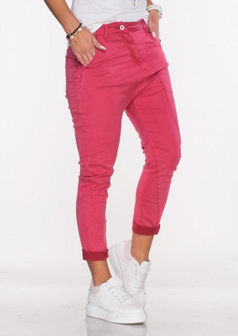 Włoskie jeansy BAGGY MORELLI malinowe