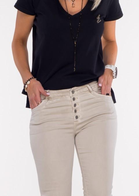 Włoskie jeansy PRZESZYCIA PUSH UP beżowe