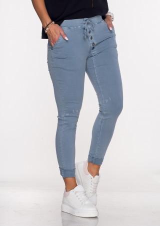 Włoskie spodnie ASYMETRYCZNE GUZIKI malinowe
