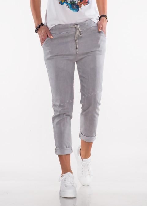 Włoskie spodnie SZNUREK szare