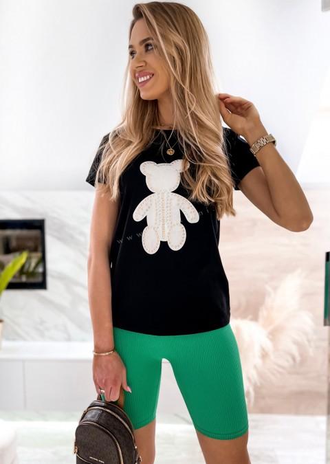 Włoski t-shirt BEAR czarny