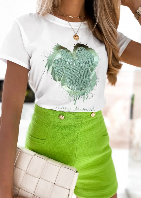 Włoski t-shirt FUNNY MOMENT biały z zielonym zdobieniem