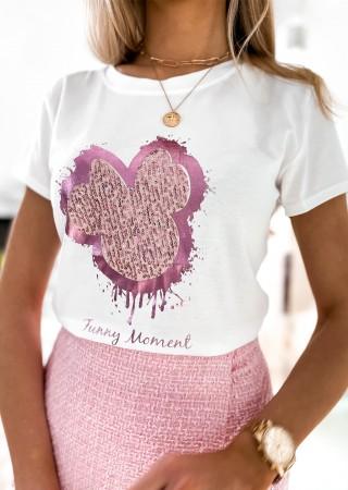 Włoski t-shirt FUNNY MOMENT biały z różowym zdobieniem