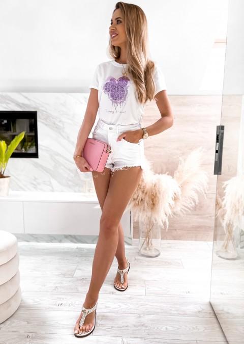 Włoski t-shirt FUNNY MOMENT biały z fioletowym zdobieniem